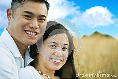 Happy romantic asian couple