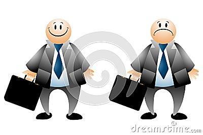Happy Sad Businessman Cartoons