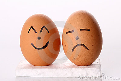 Happy & Sad Egg in Isolated White Background