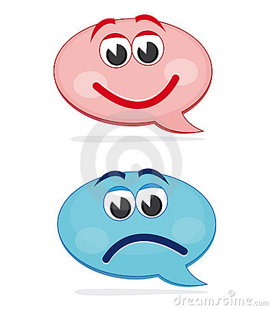 Happy and sad speech bubbles