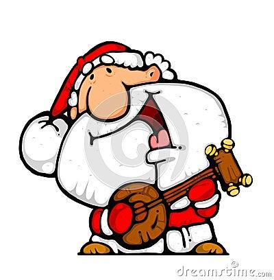 Happy santa banjo musician