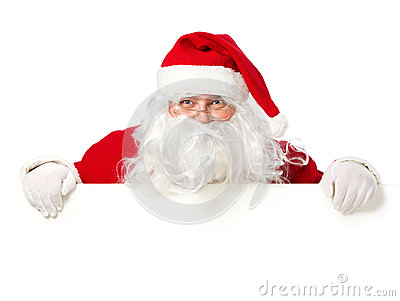Happy Santa Claus behind blank sign