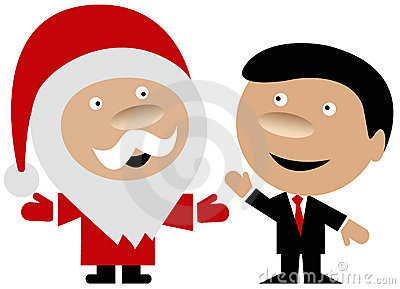 Happy Santa Claus with business man