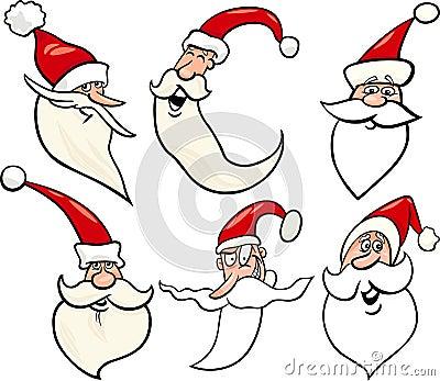Happy santa claus cartoon faces icons set