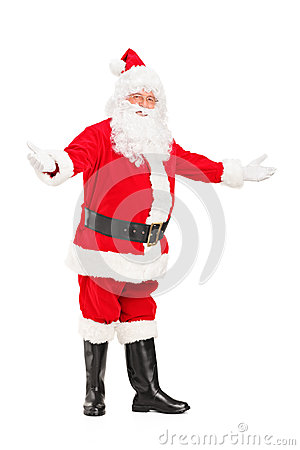 Happy Santa Claus gesturing welcome