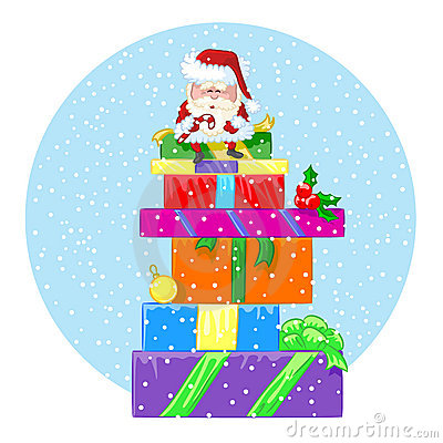 Happy Santa Claus sits on a large pile of gifts