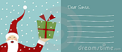 Happy Santa Claus and snowflakes letter