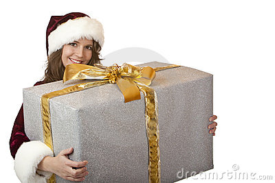 Happy Santa Claus woman holding Christmas gift