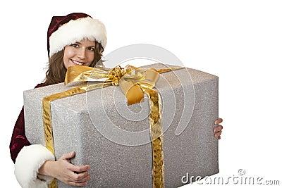 Happy Santa Claus woman holding Christmas gift