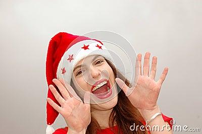 Happy Santa girl calling