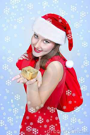 Happy santa girl with gift box