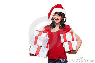 Happy santa girl holding many boxes with presents