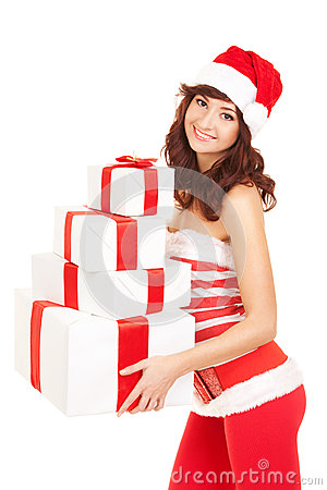 Happy santa woman with gift boxes
