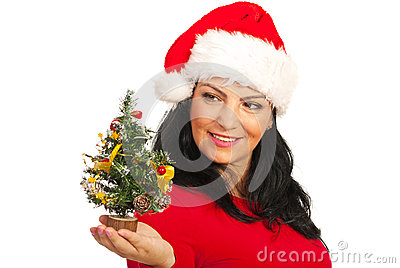 Happy Santa woman holding tree