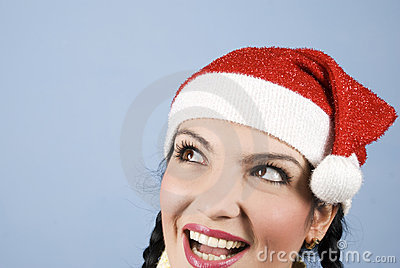 Happy Santa woman looking upper left