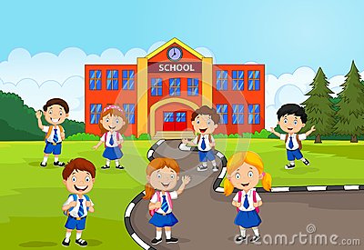 Happy school children in front of the school Vector Illustration