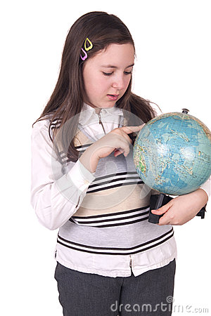 Happy school girl holding globe