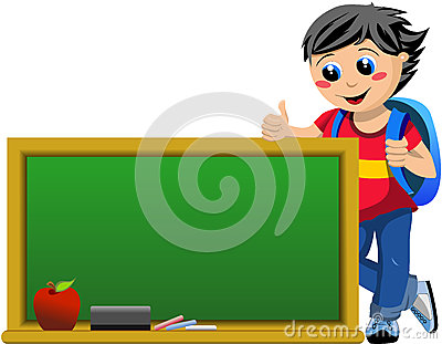 Happy Student Looking at Blackboard with Thumb Up