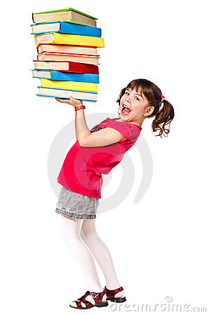 Happy schoolgirl with a stack of heavy books