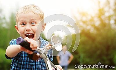 Happy screaming boy portrait