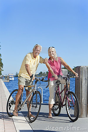 Happy Senior Active Couple on Bicycles