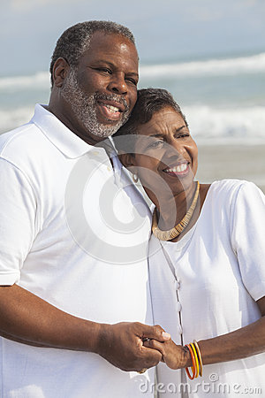 Free Happy Senior African American Couple On Beach Royalty Free Stock Image - 27630326