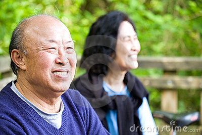Happy senior asian couple
