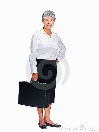Happy senior business woman holding briefcase