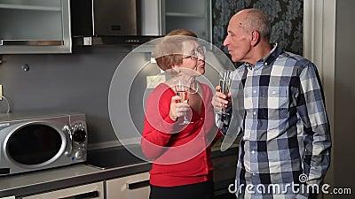 Happy senior couple celebrating valentine's day stock footage