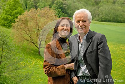 Happy senior couple outdoor