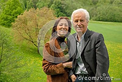 Happy senior couple outdoor