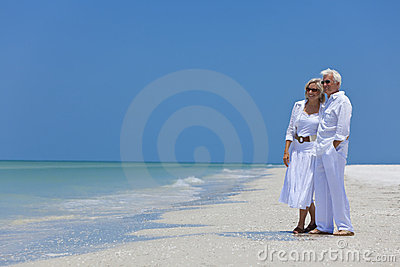 Happy Senior Couple on Tropical Beach