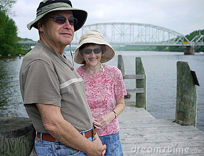 Happy Senior Couple at waterfront