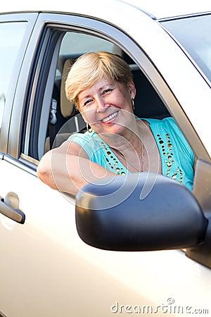 Happy senior driver
