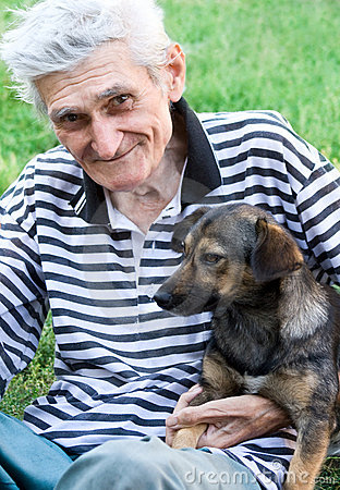 Happy senior with his best pal dog