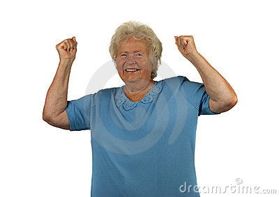 Happy senior lady with arms up