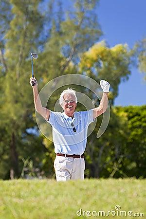 Happy Senior Man Celebrating Playing Golf