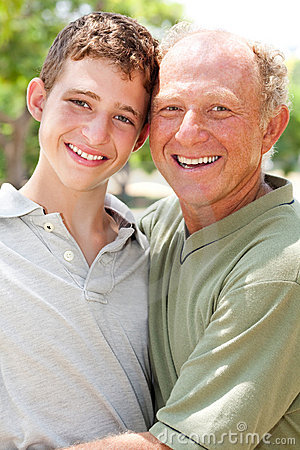 Happy senior man with grandson