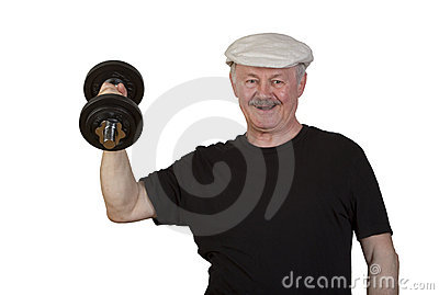 Happy senior man lifting dumbbell