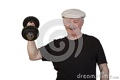 Happy senior man lifting dumbbell