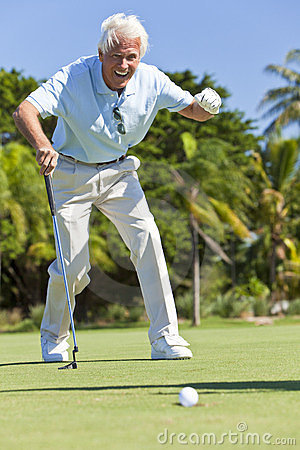 Happy Senior Man Putting Playing Golf