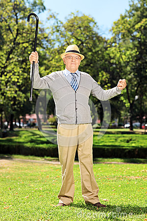 Happy senior man standing and gesturing happiness in park