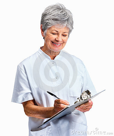 Happy senior nurse taking notes over white