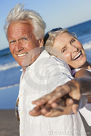 Happy Senior Old Couple on Tropical Beach