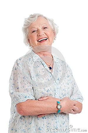 Happy senior old lady