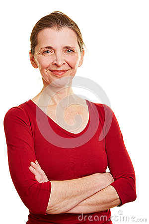 Happy senior woman with arms