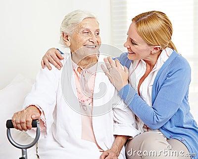 Happy senior woman looking at