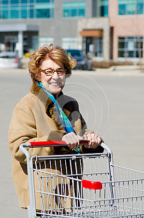 Happy Senior Woman Shopping