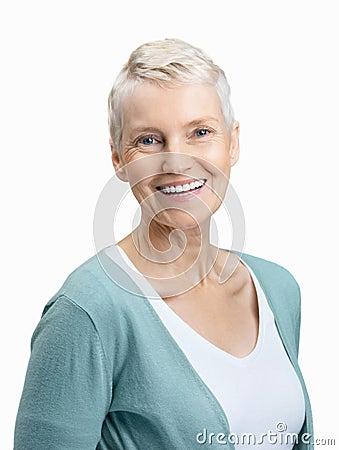 Happy senior woman smiling isolated on white