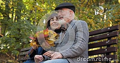 Happy Seniorenfamilien verbringen ihre Freizeit auf einer Bank in der frische Luft eines Herbststädparkes Die Frau streichelt sie stock footage